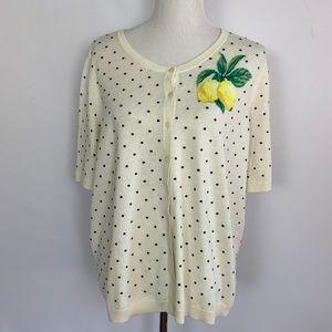 Talbots polka dots and lemon cardigan 2X Petite